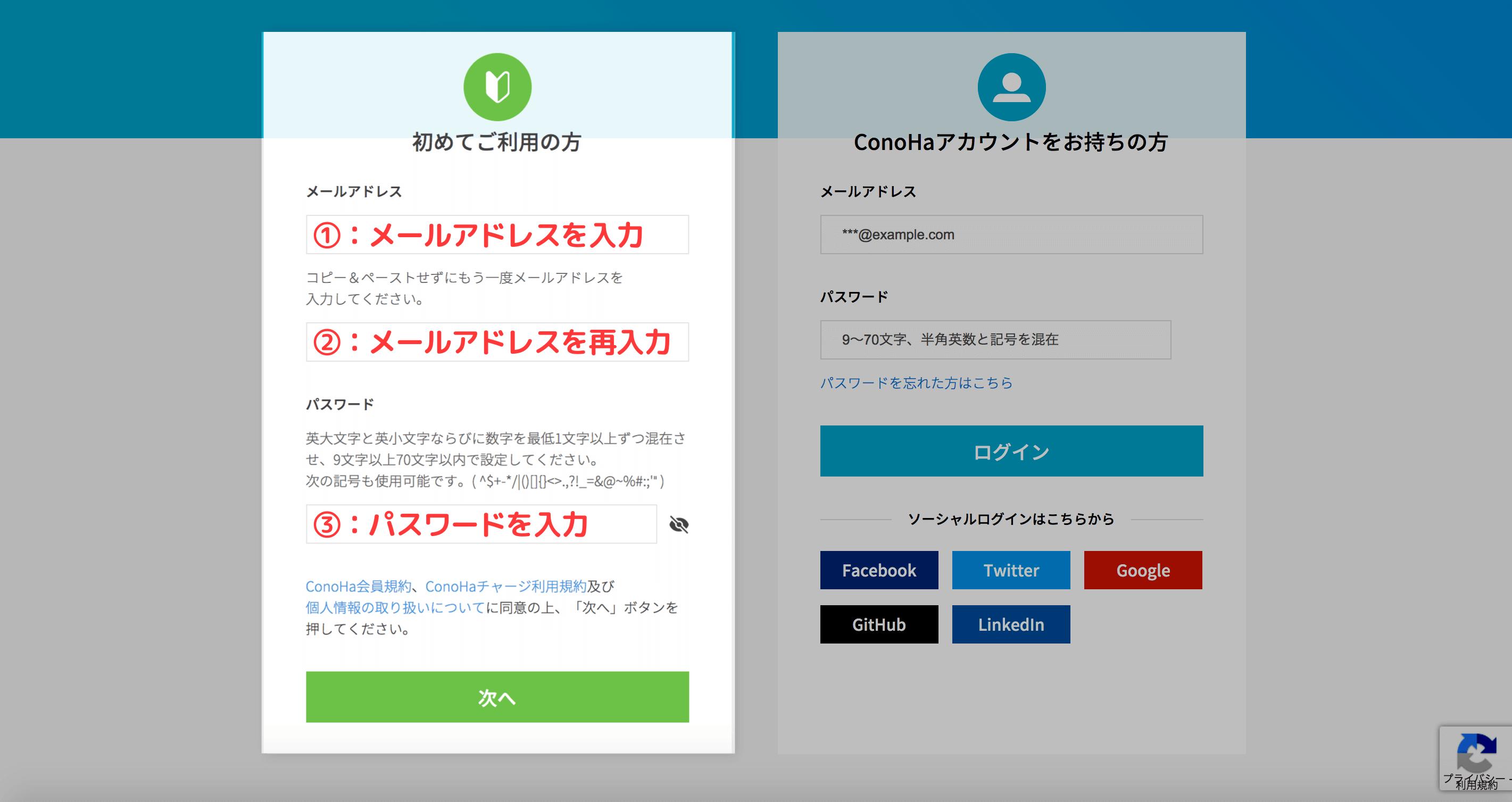 ConoHaWINGのアカウント開設画面